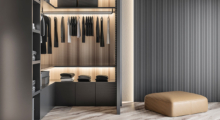 Wardrobe storage shelves and drawers