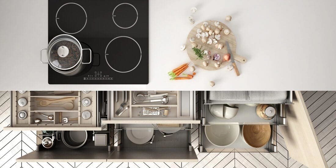 Tailor-made kitchen cabinets and drawers